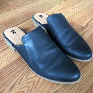 Black vegan leather mules/slides